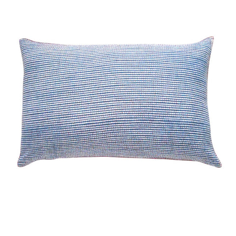 Thin Stripe Shibori with red stitch cushion