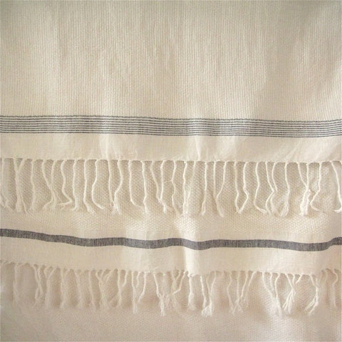 Handspun, Handwoven Cotton Towel. White with Red Stripes ( different stripe at each end)