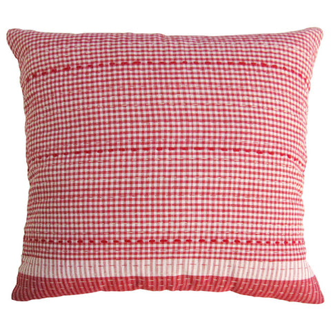Red Check Cushion / Red Stitching