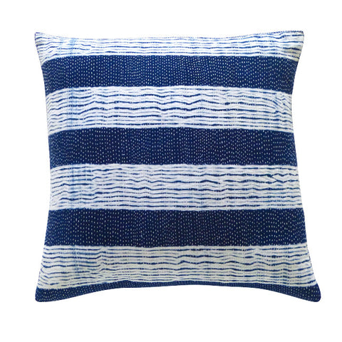 Striped Indigo Shibori cushion