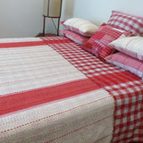 Red Stripe and Check Quilt