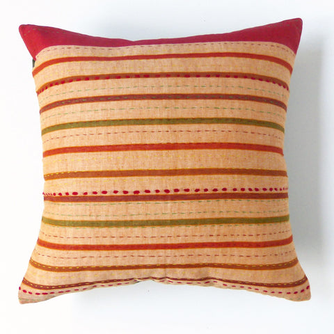 Ochre and Olive Stripe Cushion