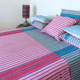 Pink and Aqua stripe quilt