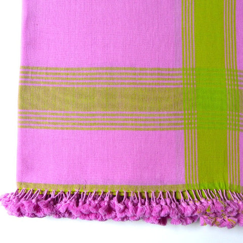 Pink with Lime Stripe Throw