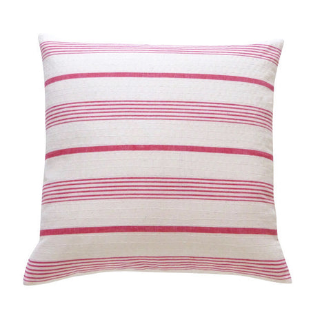 Stone and Red Ticking Cushion (1)
