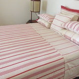 Stone and Red Ticking Quilt