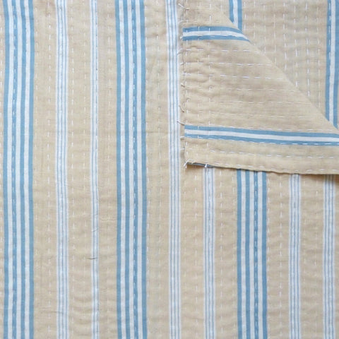Blue and Tan Ticking Quilt