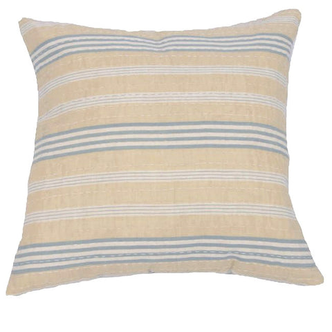 Blue and Tan Ticking Cushion (1)