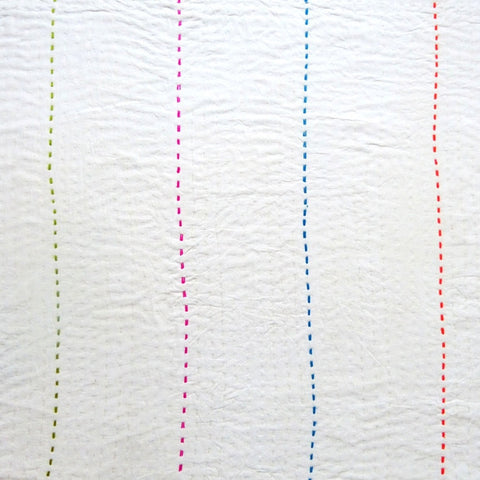 Ivory with coloured stitch quilt