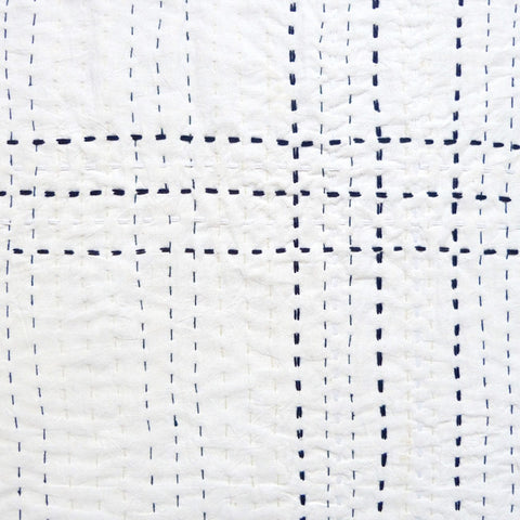 White with Indigo stitch