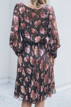 Load image into Gallery viewer, Chiffon Floral Brown Dress