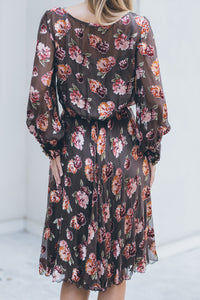 Chiffon Floral Brown Dress