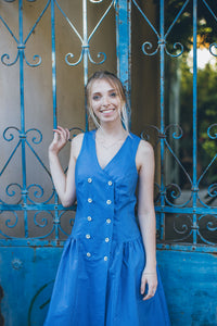 Blue 30s Style Cotton Dress