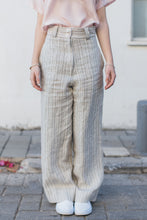 Load image into Gallery viewer, Brown Striped Straight Trousers