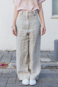 Brown Striped Straight Trousers