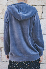 Load image into Gallery viewer, Dark Grey Velvet Hoodie