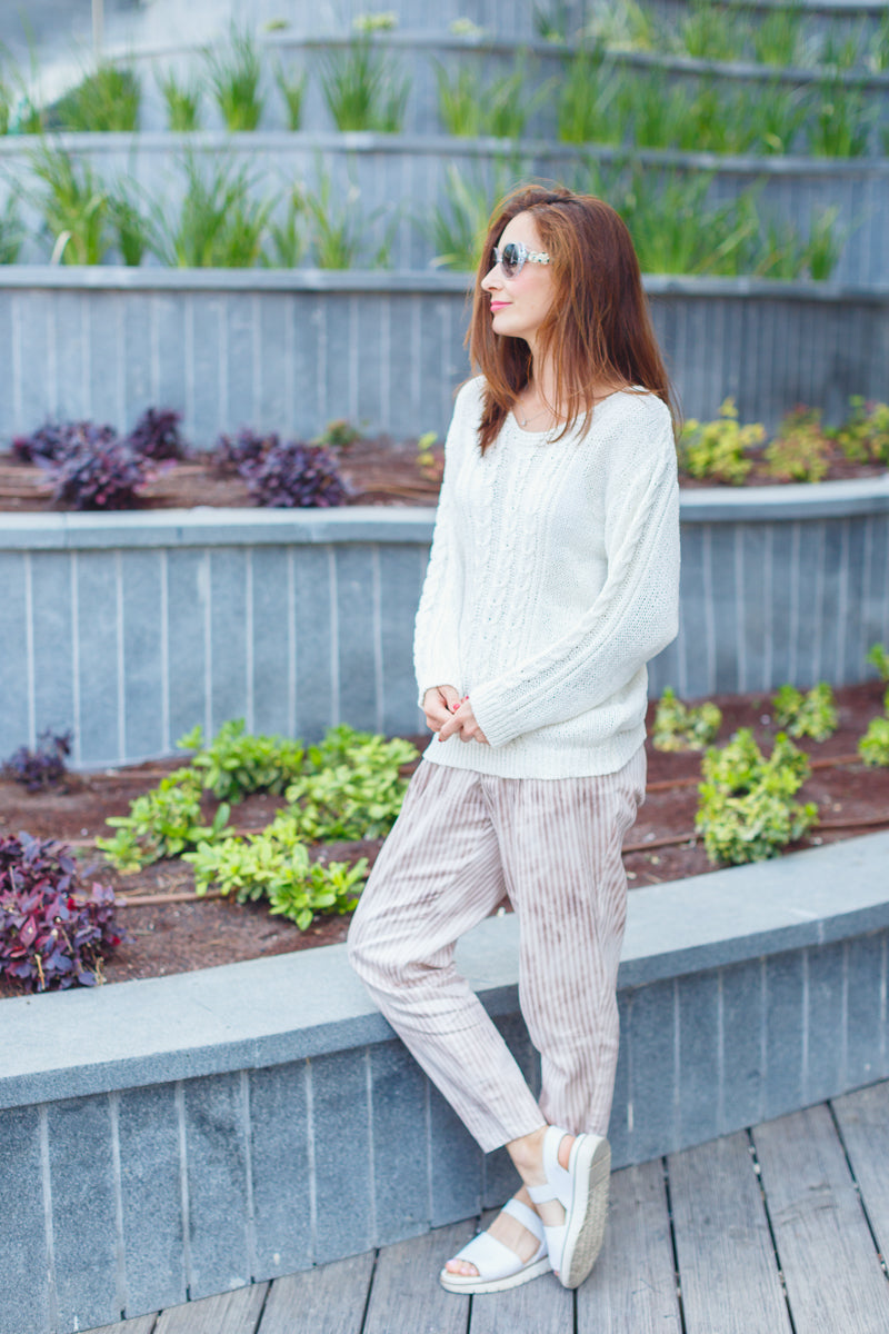 Pink-striped  trousers