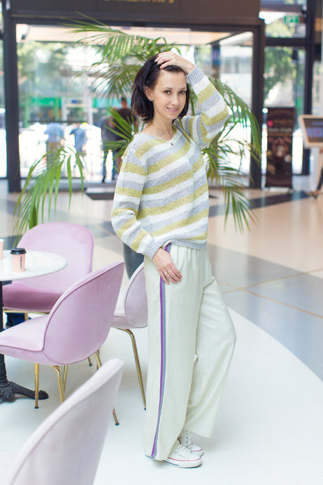 Pants With Lilac Stripes.