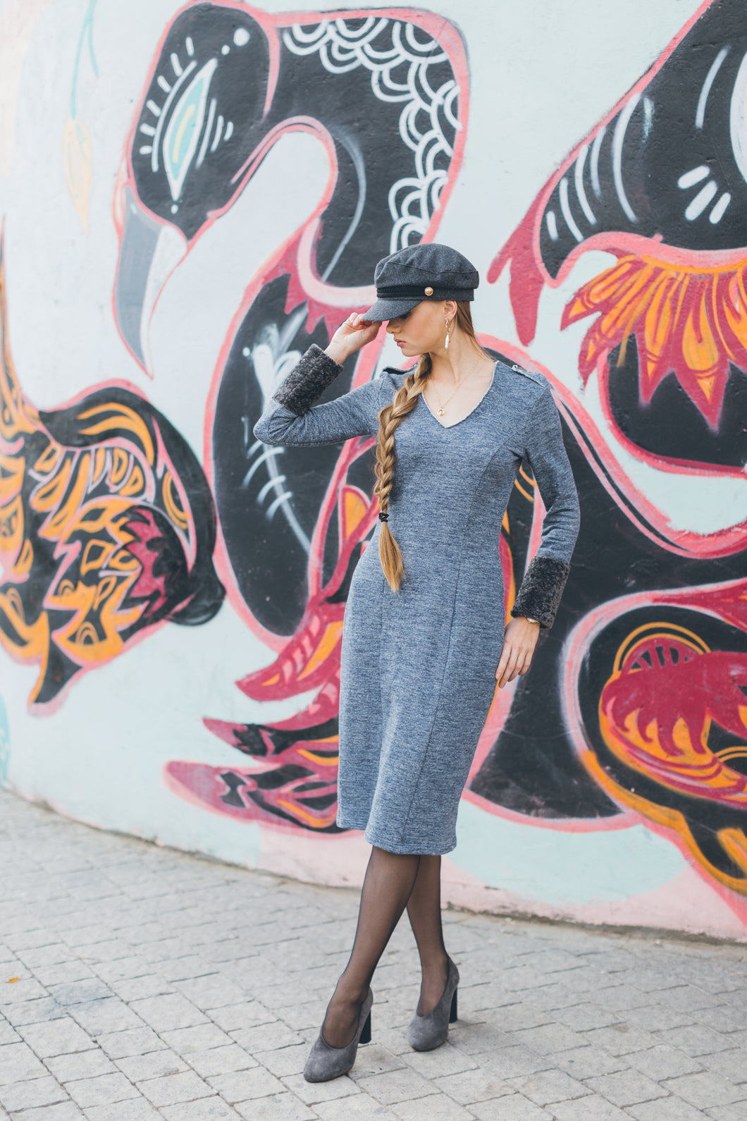 Cotton Dress with Gray Fur