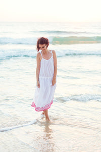 White Cotton Dress with Red Embroidery