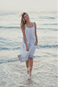 White Cotton Dress with Brown Embroidery
