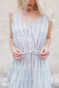 Gray Cotton Dress with Embellished Frills