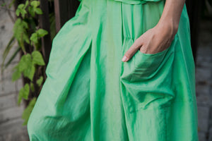 Green Skirt with Pleats