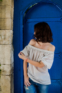 Beige Off Shoulders Blouse