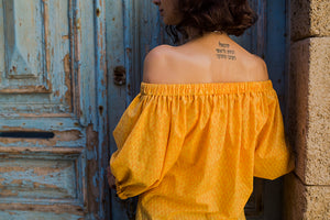 Off Shoulders Yellow Blouse