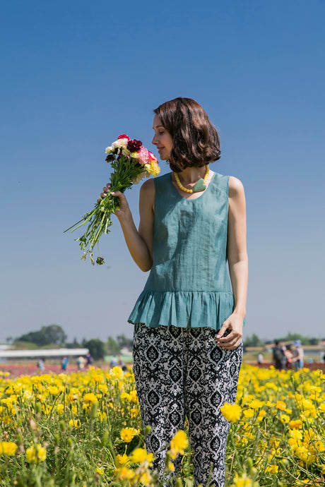 Green Cotton Tank Top with Frills