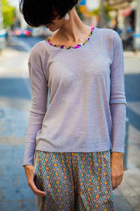 Gray T-shirt with Embellished Neckline