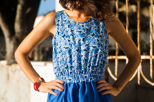 Blue Cotton Dress with Flowers