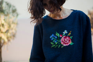 Sweatshirt & Handmade Cross-Btitch