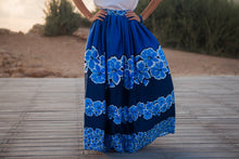 "Load image into Gallery viewer, ""Blue Flowers"" Long Skirt"