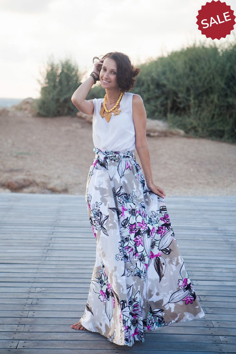 Bright Floral Long Skirt