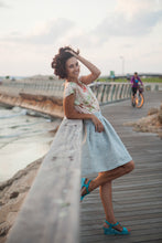 Load image into Gallery viewer, Light Blue Skirt & Lurex