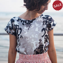 Load image into Gallery viewer, Black and White Silk Blouse
