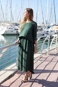 Dark Green Silk Blouse