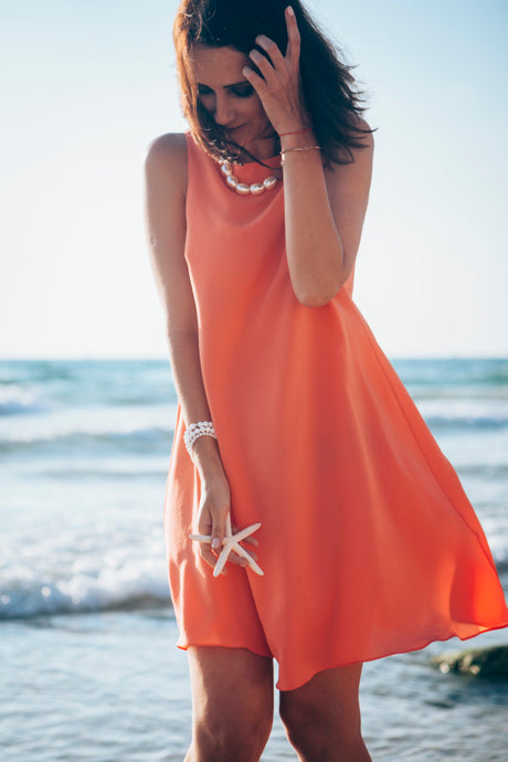 Sleeveless Dress in Peach