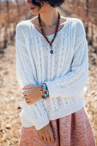 White Braided Sweater
