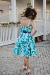 Turquoise Flowery Dress