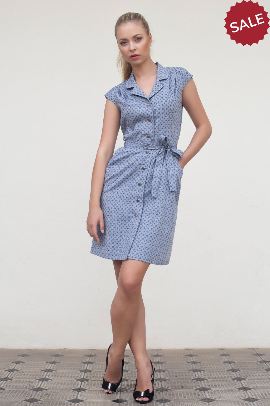 Blue Button Cotton Dress