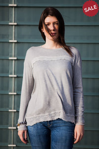Gray T-Shirt with Lace