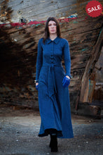 Load image into Gallery viewer, Blue Long Cotton Dress