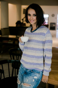 White Sweater with Purple Stripes