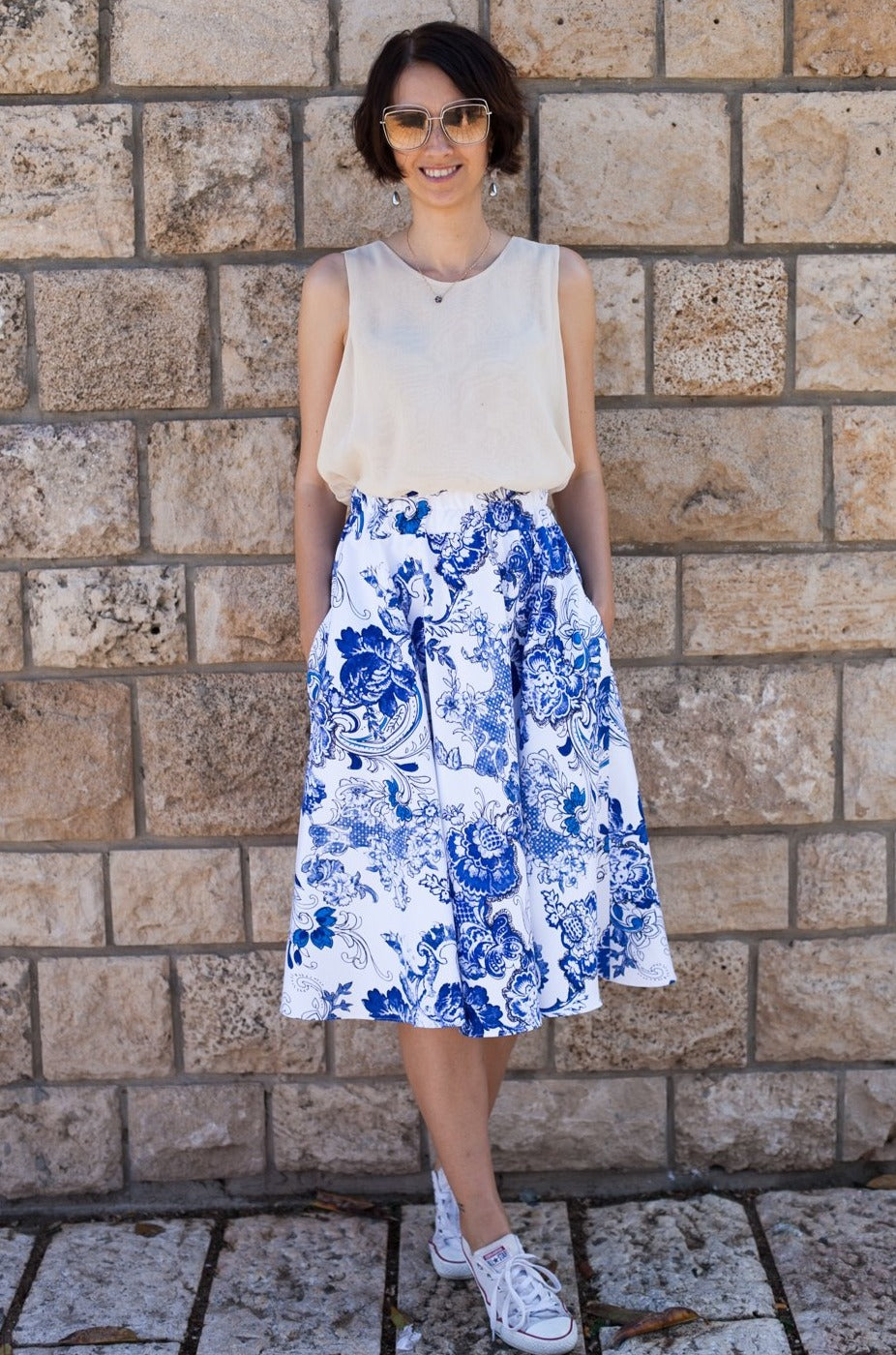 Blue and White Cotton Skirt