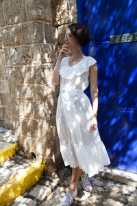 White Cotton Dress with Frills