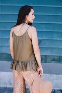 Olive Top with Frill