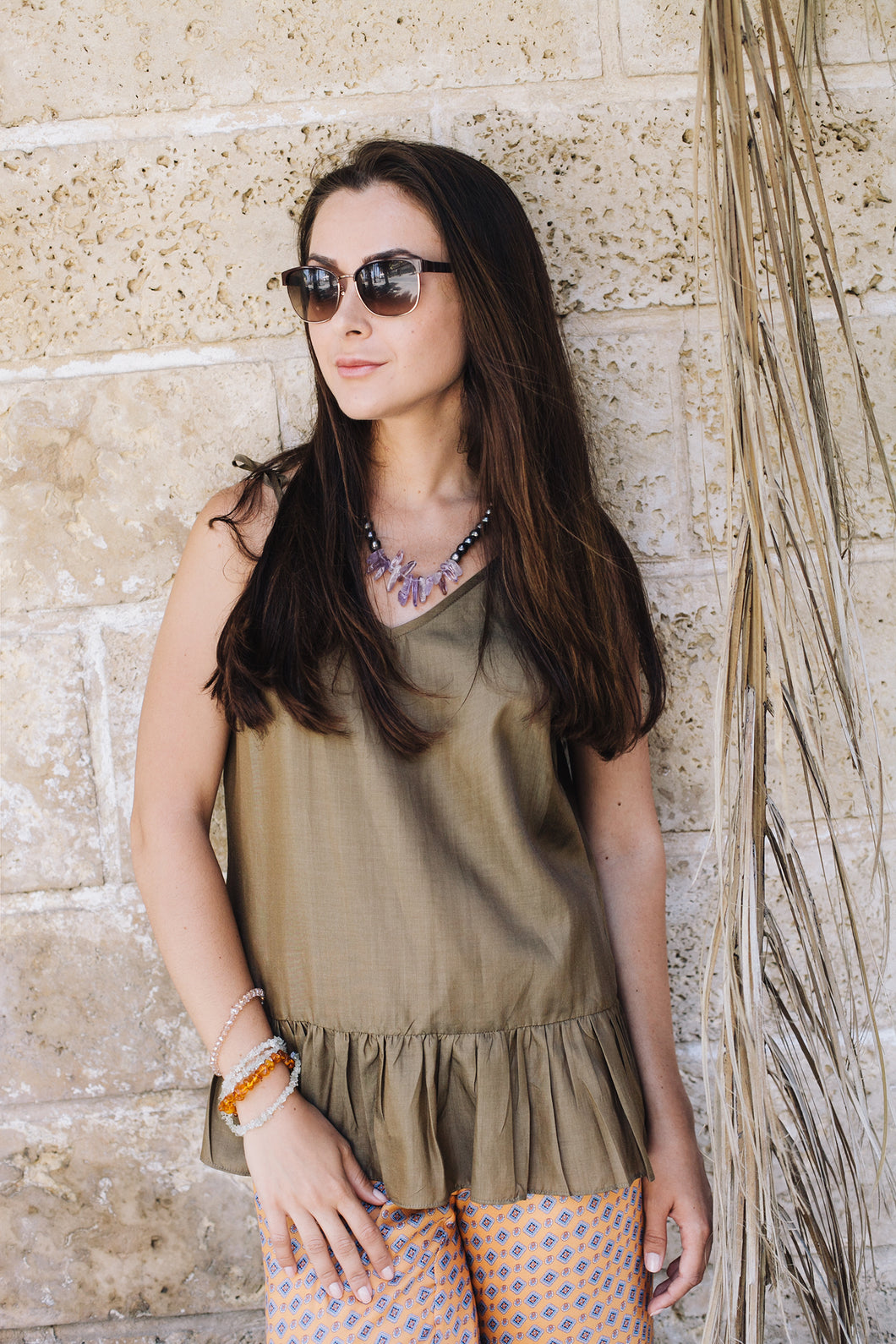 Olive Tank Top with Frills