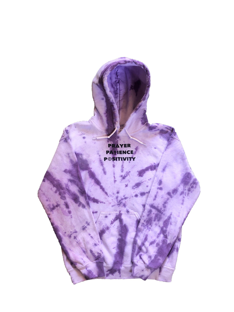 Purple & White Tie Dye Hoodie - 3 P's Clothing